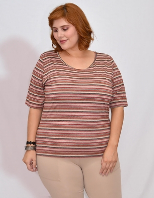 Twin Set Plus Size Stripped Rosa - Palank
